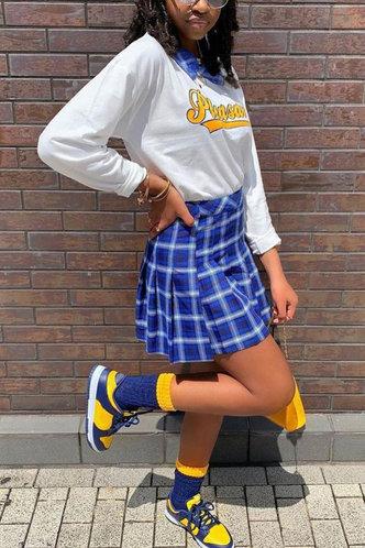 back_Plaid Regular Sleeve Long Sleeve Pullover White And Blue Skirt Sets