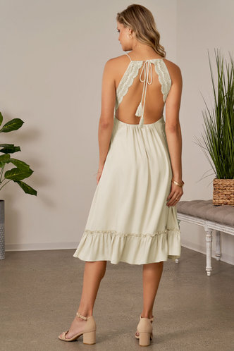 back_Chrysanthemum Champagne Midi Dress