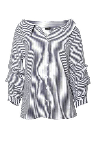 front_In The Biz Blue And White Striped Striped Blouse