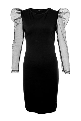 front_For The Night Black Bodycon Dress