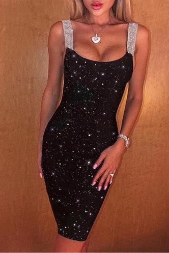 front_Plain  Black Midi Dresses