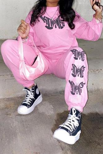 front_Letter Elastic Waist Pink Pants Set