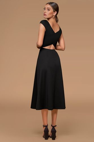 back_Magic Motion Black Midi Dress