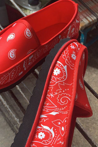 back_All Over Print Round Toe Red Flats