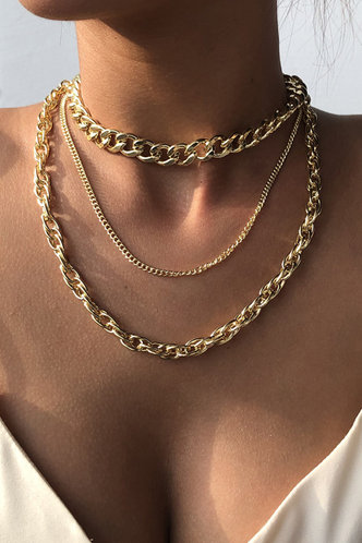 front_Helen Elizabeth Gold Simple Chain Layered Necklace