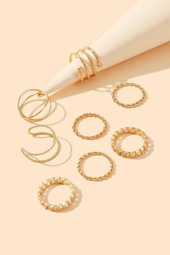 back_Jasmine Elsie Gold Simple Metal Ring 8pcs