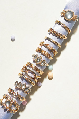 front_Maud Eleanore Gold Rhinestone Charm Ring 13pcs