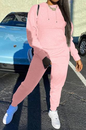 back_Pocket Pullover Pink Sweatshirt Sets