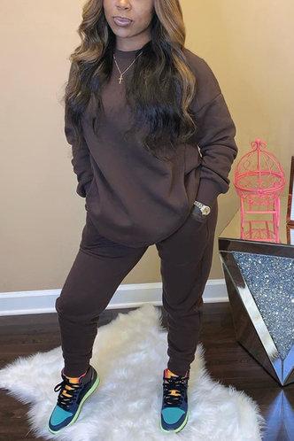 front_Plain Pocket Brown Pants Sets