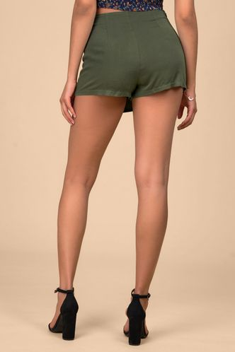 back_Town Road Army Green Shorts