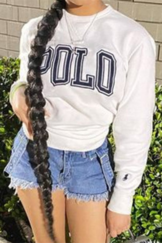 front_Casual Round Neck Letter Print White Sweatshirts & Hoodies