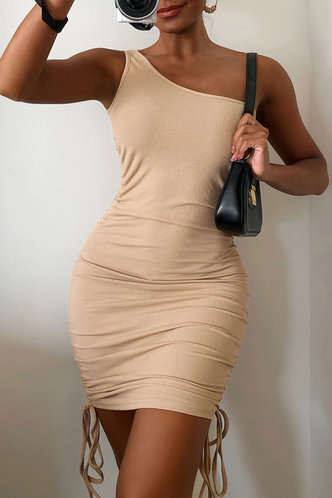 front_Yolande Elma Light Khaki One Shoulder Bobycon Dress