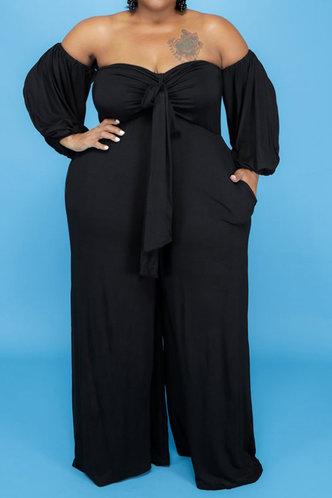 front_Off the Shoulder Black Plus Size Jumpsuits