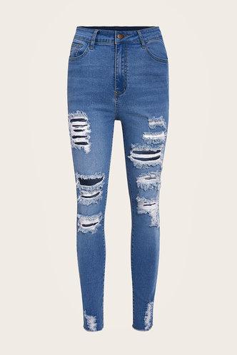 back_High Waist Plain Wash Dark Blue Women Jeans