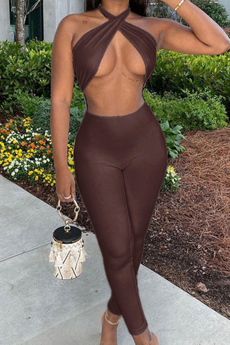 front_Giovanna Emma Brown Jumpsuit