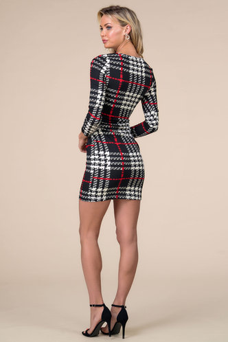 back_My Wish Black And White Plaid Fitted Dress