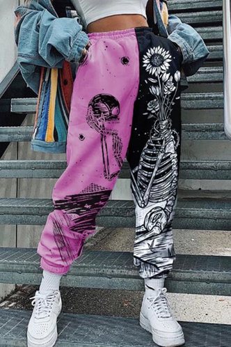 front_Beverley Edith Black And Pink Sweatpants