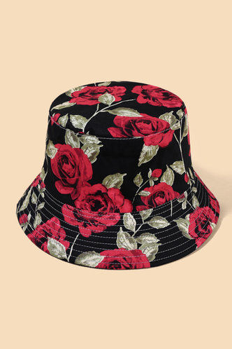 front_Flora Elma Black And Red Floral Print Bucket Hat