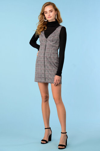 front_Over It Grey Plaid Overall Dress