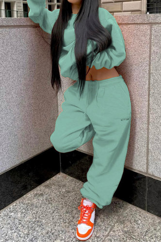 back_Plain Elastic Band Pullover Mint Green Pants Sets