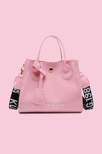 front_Vacation Letter Print Metallic Button Pink Satchels
