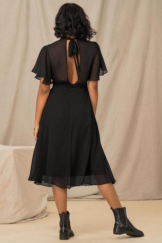 back_Such A Flirt Black Panel Dress