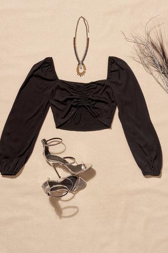 back_Feel the Breeze Black Long Sleeve Top