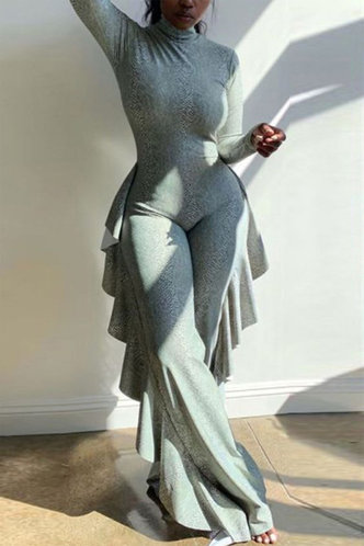 front_Sexy Plain Stand Collar Light Grey Jumpsuit