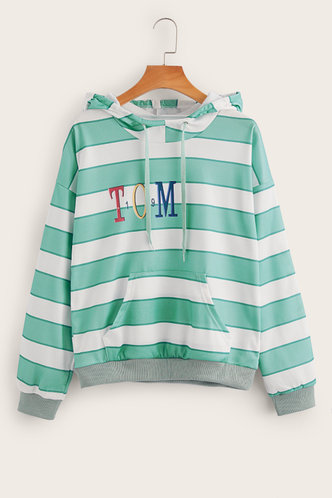 back_Eva Edwina Green And White Stripe Sweatshirt