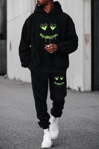 front_Street Chic Solid Color Black Men Pants Sets