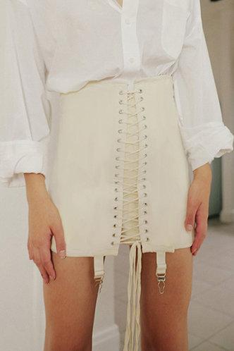 back_Kaye Elaine Ivory Lace-Up Skirt