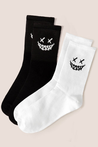 front_Gustave Esther Black And White Sock & Tight
