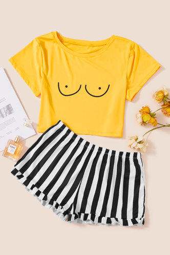 front_Eileen Jhurnal Yellow And Striped Loungewear Set