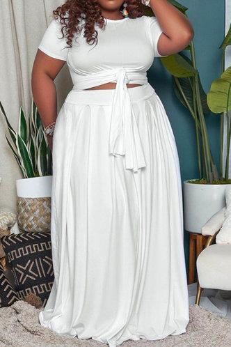 front_Davina Eunice White Plus Size Skirt Set