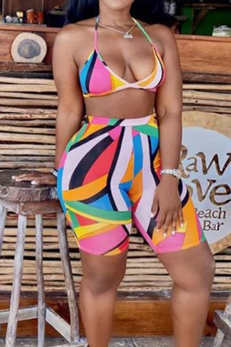 back_Beverly Elizabeth Colorful Geo Print Plus Bikini