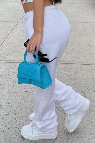 back_Mid Waist   White Plus Size Sweatpants