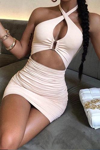 front_Shopping Party Mini Sleeveless Halter White Plain Dresses