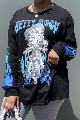 front_Vacation Street All Over Print  Long Sleeve Black Tees