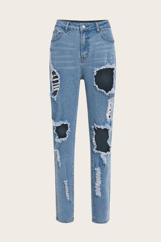 back_Mid Waist Plain Straight Leg Wash Blue Women Jeans