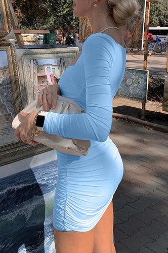 back_Prints Charming Sky Blue Ruched Dress