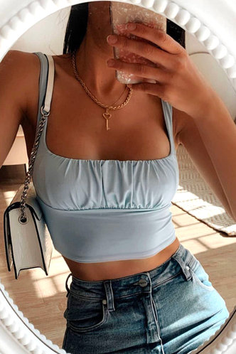 front_Merry Eden Light Blue Ruched Crop Top