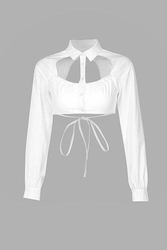 back_Mock Plain  Long Sleeve Short White Tees