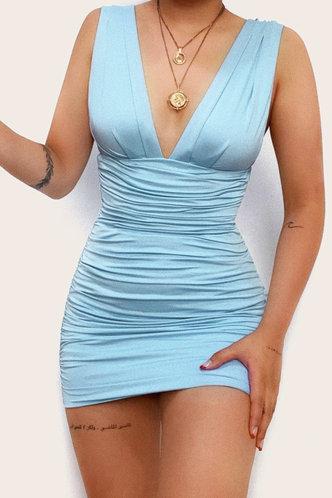 front_Dagmar Eileen Blue Ruched Dress