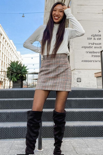 back_Let's Party  Grey Plaid Bodycon Skirt