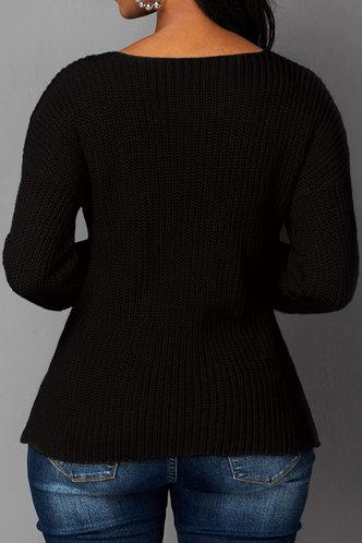 back_V Neck Plain Long Sleeve Black Sweaters
