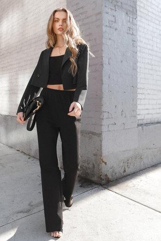 back_Crop On Top Black Blazer