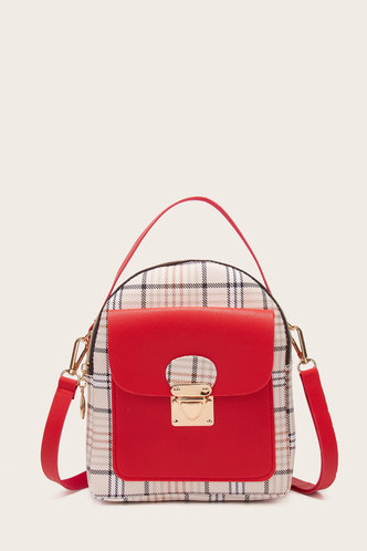front_Helen Marist Red And Plaid Bagpack