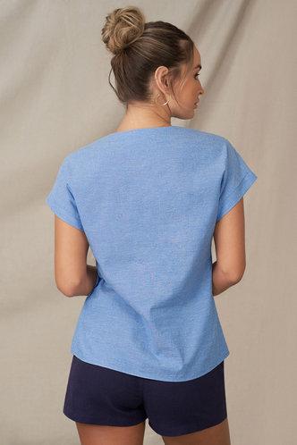 back_Open Ended Heart Denim Blue Short Sleeve Top