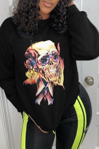 back_Casual Street Chic Round Neck Graphic  Black Sweatshirts & Hoodies