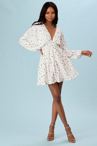 back_Veranda View Sage White Floral Print Mini Dress